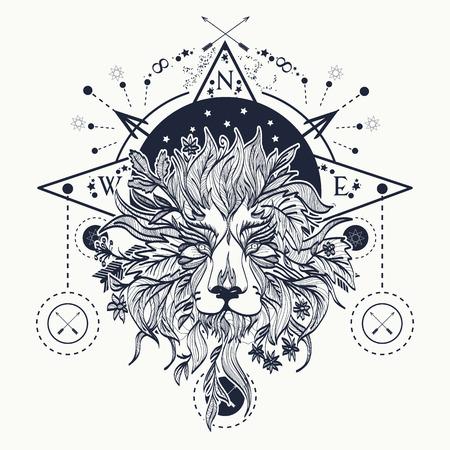 Mystic lion tattoo art. Alchemy, religion, spirituality, occultism, tattoo lion art and t-shirt design Illustration