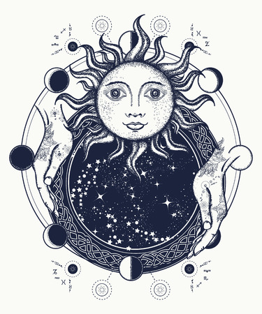 Magic mirror tattoo art. Antique sun, fortune teller hands, lunar phases. Symbol of magic, mystery, esoterics. Sun and lunar phases medieval t-shirt design 免版税图像 - 71089661
