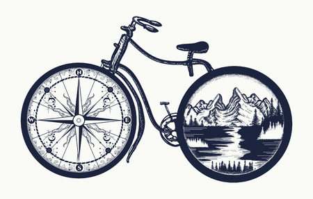 Bicycle tattoo art. Symbol of travel, tourism, adventure. Compass and mountains in bicycle wheels t-shirt design