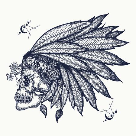インドの頭蓋骨の入れ墨の芸術。戦士のシンボル。人間の頭蓋骨の t シャツのデザインとネイティブ アメリカン インディアンの羽飾り  イラスト・ベクター素材