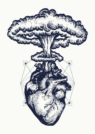 Heart and nuclear explosion tattoo art. Symbol of love, feelings, energy. Nuclear explosion of anatomical heart t-shirt design surreal graphic Vettoriali