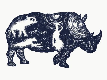 double exposure: Rhinoceros tattoo art. Symbol Africa, savannah, travel. African woman, jaguar, elephant. Rhino double exposure t-shirt design
