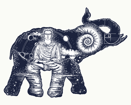 코끼리 문신 예술. 여행 영성, 명상, 요가,의 상징. 부처, 암모나이트, 산. 매직 코끼리 이중 노출 동물 천골 스타일 t 셔츠 디자인 일러스트