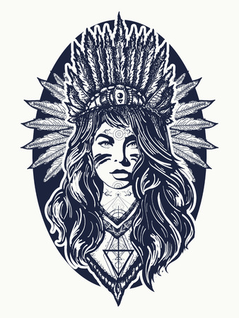 Native American vrouw tattoo art. Etnische meisje krijger. Jonge vrouw in kostuum van Amerikaanse Indische t-shirtontwerp Stock Illustratie