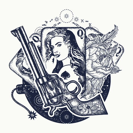 Revolver, playing cards, beautiful girl, bomb tattoo art. Casino, criminal background, set of gangster mafia. Vintage playing cards, roses and gun t-shirt design