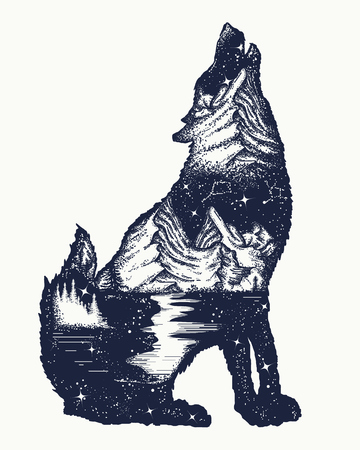 Wolf double exposure tattoo art. Symbol tourism, travel, adventure, outdoor. Wolf howls, mountain and night sky t-shirt design