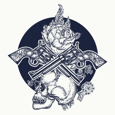 Skull Crossed Guns Rose Tattoo Art Symbol Of The Wild West