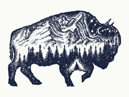 Bison tattoo art. Buffalo bull travel symbol, adventure tourism. Mountain, forest, night sky. Magic tribal bison double exposure animals