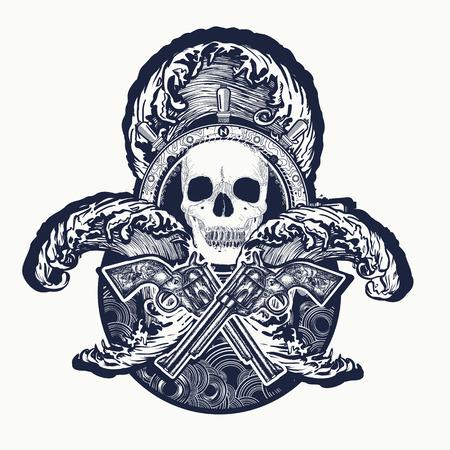 piracy: Pirate, crossed guns, skull, sea waves tattoo art. Symbol sea adventures. Old skull pirate steering wheel crossed revolvers t-shirt design Illustration