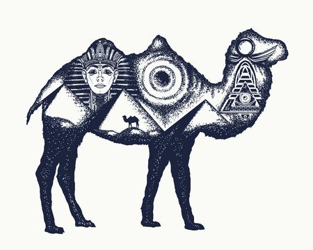Camel tattoo art. Ancient Egypt, Pharaoh, Ankh, Pyramid. Symbol of archeology, ancient civilizations. Camel double exposure animals Vettoriali