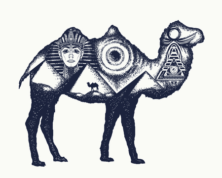 ancient civilization: Camel tattoo art. Ancient Egypt, Pharaoh, Ankh, Pyramid. Symbol of archeology, ancient civilizations. Camel double exposure animals Illustration