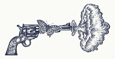 Gun shoots slow motion tattoo art. Symbol of love and hate, war and peace. Revolver, butterfly, nuclear explosion creative idea t-shirt design Illustration