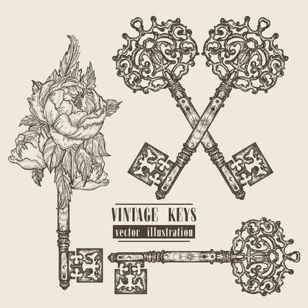 Ornamental medieval vintage keys collection. Hand drawn old keys design template