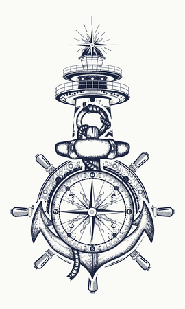 Anchor, steering wheel, compass, lighthouse, tattoo art. Symbol of maritime adventure, tourism, travel. Old anchor and lighthouse t-shirt design Stock fotó - 72604032
