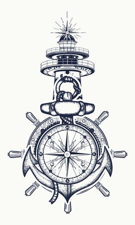 Ancla, el volante, la brújula, el faro, el arte del tatuaje. Símbolo de la aventura marítima, el turismo, los viajes. Ancla vieja y el faro diseño de la camiseta Ilustración de vector