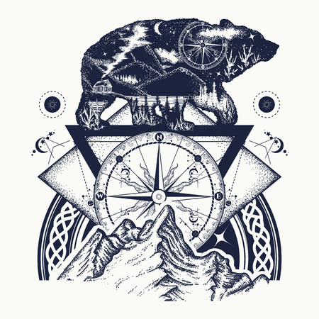 Bear double exposure, mountains, compass, tattoo art. Tourism symbol, adventure, great outdoor. Mountains, compass. Bear grizzly silhouette t-shirt design