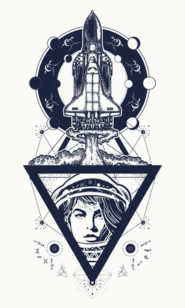 researches: Flying-up spaceship and astronaut tattoo art. Flight to new galaxies, space researches, boundless Universe. Woman astronaut flight to Mars by spaceship t-shirt design