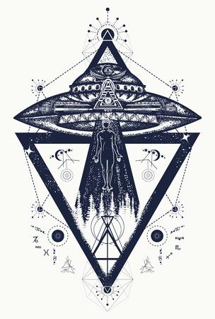 UFO extranjeros secuestrados persona tatuaje arte. Actividad paranormal, primer contacto. Hombre que es secuestrado por un diseño extranjero de la camiseta de la nave espacial