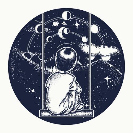 Niño en un columpio en las montañas, soñador arte del tatuaje. El muchacho mira a las estrellas. Símbolo de la poesía, la psicología, la filosofía, la astronomía, la ciencia. fases lunares y universo. Soñando genio del diseño de la camiseta