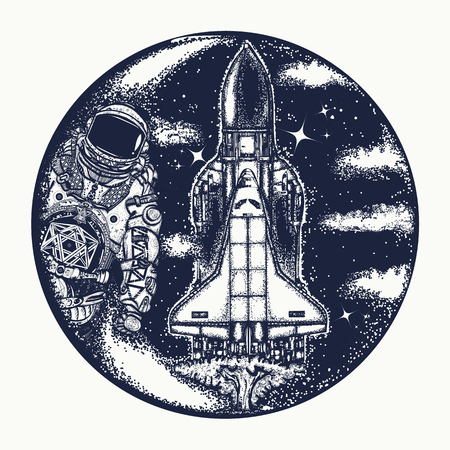 Space shuttle and astronaut tattoo art. Symbol of space travel, study of  universe, flight to new galaxies. Spaceman and spaceship t-shirt design