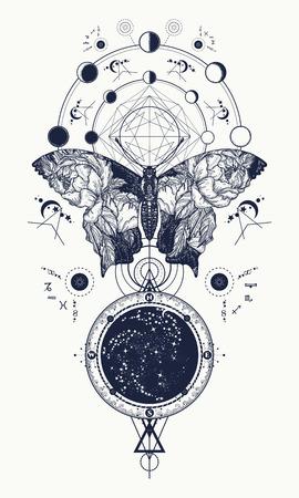 Schmetterlingstätowierung im geometrischen Stil. Schöner Schmetterling Boho T-Shirt Design, Flügel und Rosen, Esoterisches Symbol der Freiheit, Magie, Reisen. Tattoo für Frau, Stil doppelte Belichtung