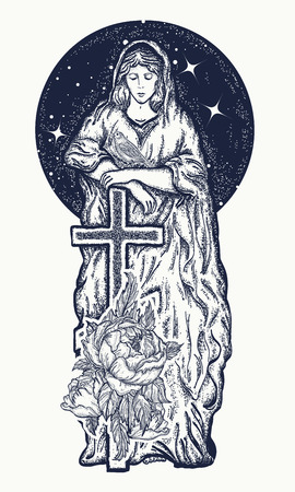 Virgin Mary tattoo art. Symbol of Christianity, religion, mother of Christ. Virgin Mary with a cross t-shirt design Illustration