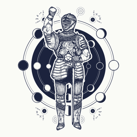 sacral: Medieval knight tattoo art. Esoteric symbol ancient war, lunar phases. Alchemical motives, sacral geometry. Medieval knight templar t-shirt design