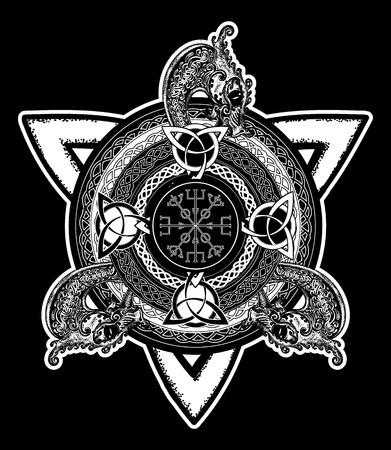 germanic: Celtic cross tattoo art and t-shirt design. Dragons, symbol of the Viking. Helm of Awe, aegishjalmur, celtic trinity knot, tattoo.