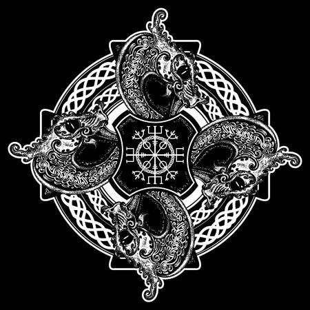 arte del tatuaje cruz celta y diseño de la camiseta. Timón del temor, aegishjalmur, nudo de la trinidad celta, tatuaje. Dragones, símbolo de Viking. Nórdicos cruz céltica gráficos de estilo étnico