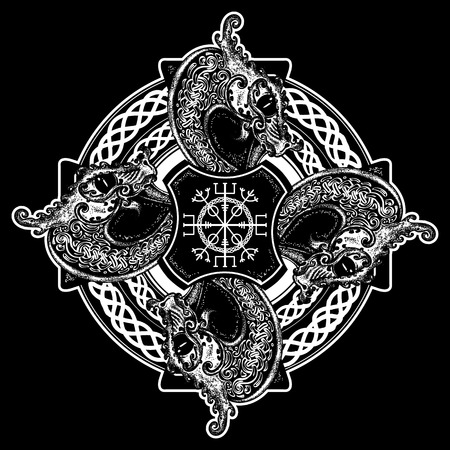 Celtic cross tattoo art and t-shirt design. Helm of Awe, aegishjalmur, celtic trinity knot, tattoo. Dragons, symbol of the Viking. Nordic celtic cross ethnic style graphics