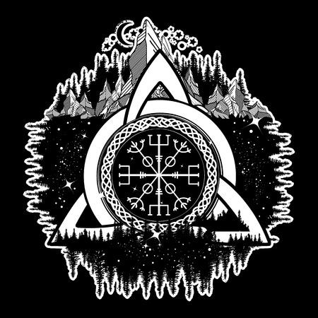 Celtic trinity knot, Helm of Awe, aegishjalmur, tattoo. Scandinavian symbols of Vikings, travelers, mascot. Celtic tattoo boho style, t-shirt design Stock Illustratie