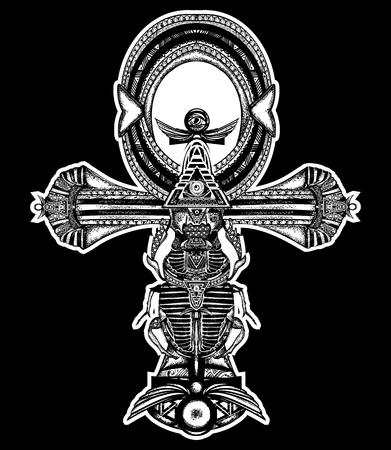 ojo de horus: tatuaje ankh, cruz egipcia antigua diseño de la camiseta. estilo étnico decorativo del antiguo Egipto. símbolo Anj del tatuaje de la vida eterna, clave de la inmortalidad Vectores