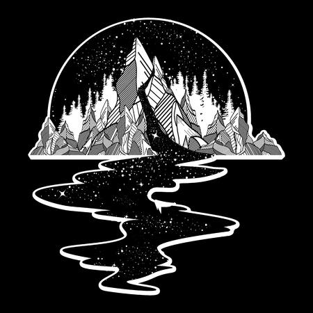 별의 강은 산에서, 귀영 나팔 예술 흐른다. 무한 공간, 명상 상징, 여행, 관광. 끝없는 우주 개념. T 셔츠 디자인, 초현실주의 그래픽