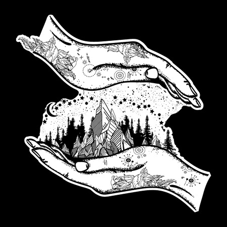 Mountains in hands, tattoo. Symbol of travel, tourism, meditation. Mountains boho style, t-shirt design, surreal graphics tattoo Illustration