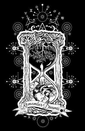 ツリーは、生命と死、神秘的なタトゥーの砂時計の心。砂時計のタトゥーの男。常緑の心。概念時間タトゥー。スローガン: は、夢を覚えています。