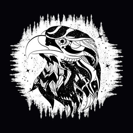 Eagle tattoo art, falcon in night forest, symbol travel and tourism. Ethnic hawk, t-shirt design, tribal style.
