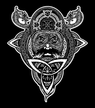 Viking warrior tattoo. Northern warrior, t-shirt design.  Celtic emblem of Odin. Northern dragons, viking helmet, ethnic style Ilustracja