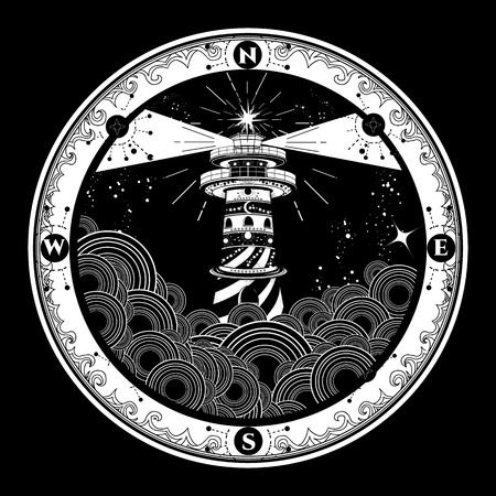 Lighthouse on cliff in stormy weather tattoo, Lighthouse and rose compass t-shirt design. symbol of meditation, hiking, adventures graphic style. Lighthouse in the storm sea tattoo  イラスト・ベクター素材