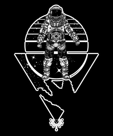 Astronaut in space, tattoo. Cosmonaut in deep space triangular style t-shirt design. Spaceman tattoo art