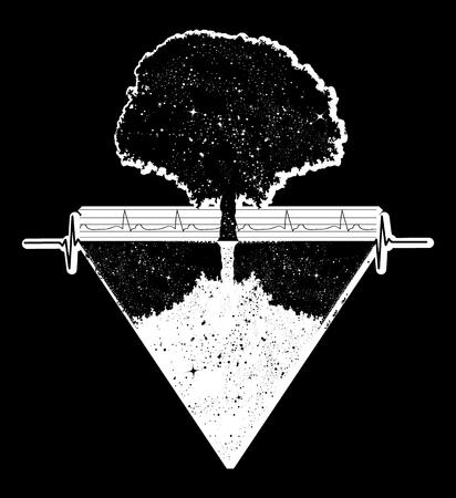 Tree of Life tattoo art, geometrical style, mystic tribal symbol, magic tree t-shirt design. Future and the past, symbol of life and death, magic tree tattoo boho style Illustration