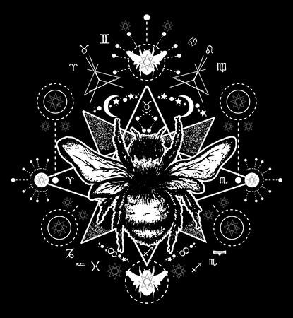 꿀벌 문신 예술. 손 꿀벌의 스케치를 그려. 꿀벌 문신 스케치. 일러스트