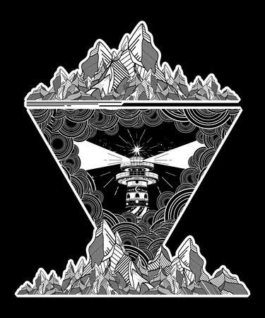Lighthouse in the storm tattoo art, Lighthouse mountains geometric style tattoo, t-shirt design. Lighthouse marine tattoo, symbol of meditation, hiking, adventures Illustration