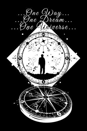 Compass tattoo. One way. One dream. One universe. Compass and traveler tattoo. Deep space. Magical symbols traveler, dreamer, adventure, meditation tattoo. Art space tattoo compass Illustration