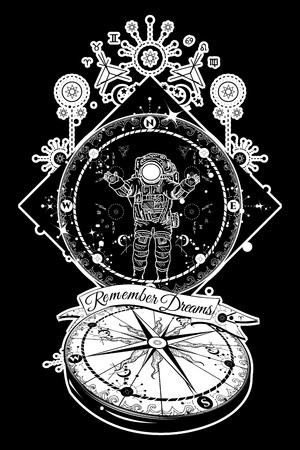 Astronaut in deep space tattoo. Travel in boundless universe. Mysticism, spirituality, astrology tattoo art. Magical symbols traveler, dreamer, adventure, meditation. Surrealist travel compass tattoo