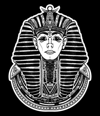 Pharaoh tattoo art, Egypt pharaoh graphic, t-shirt design. Great king of ancient Egypt. Tutankhamen mask tatoo. Egyptian golden pharaohs mask, ethnic style tattoo vector Vettoriali