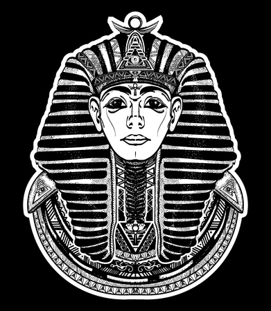 Pharaoh tattoo art, Egypt pharaoh graphic, t-shirt design. Great king of ancient Egypt. Tutankhamen mask tatoo. Egyptian golden pharaohs mask, ethnic style tattoo vector Illustration