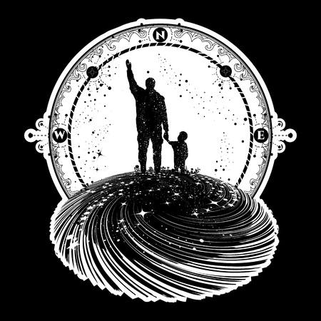 Father and son tattoo art. Happy family of the future. Father teaches son to dream, life education. Immortality of human life t-shirt design. Milky Way with silhouette of a family graphic tattoo