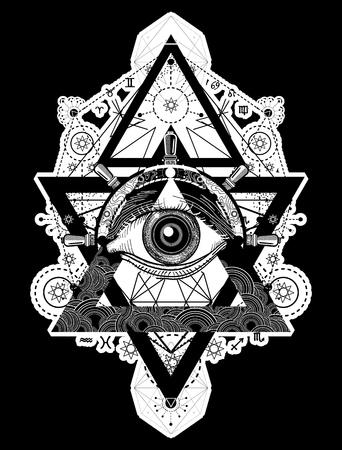 모든 보는 눈 문신 아트 벡터입니다. 프리메이슨과 영적 기호입니다. 연금술, 중세 종교, 신비주의, 영성과 비의 문신. 마법의 눈, 나침반 및 스티어링