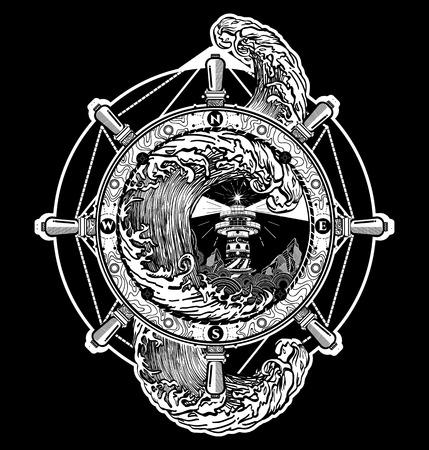 nave volante tatto d'arte, tatuaggio mare e t-shirt. tempesta Faro. faro decorativo. torre di ricerca per marittimo tatuaggio guida di navigazione. Ocean tempesta d'onda arte