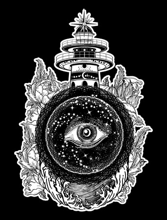 sacral: Lighthouse, roses and all seeing eye tattoo. Freemason, spiritual, illuminati, secret and mystical signs tattoo. Lighthouse in the storm, and the all seeing eye t-shirt design Illustration